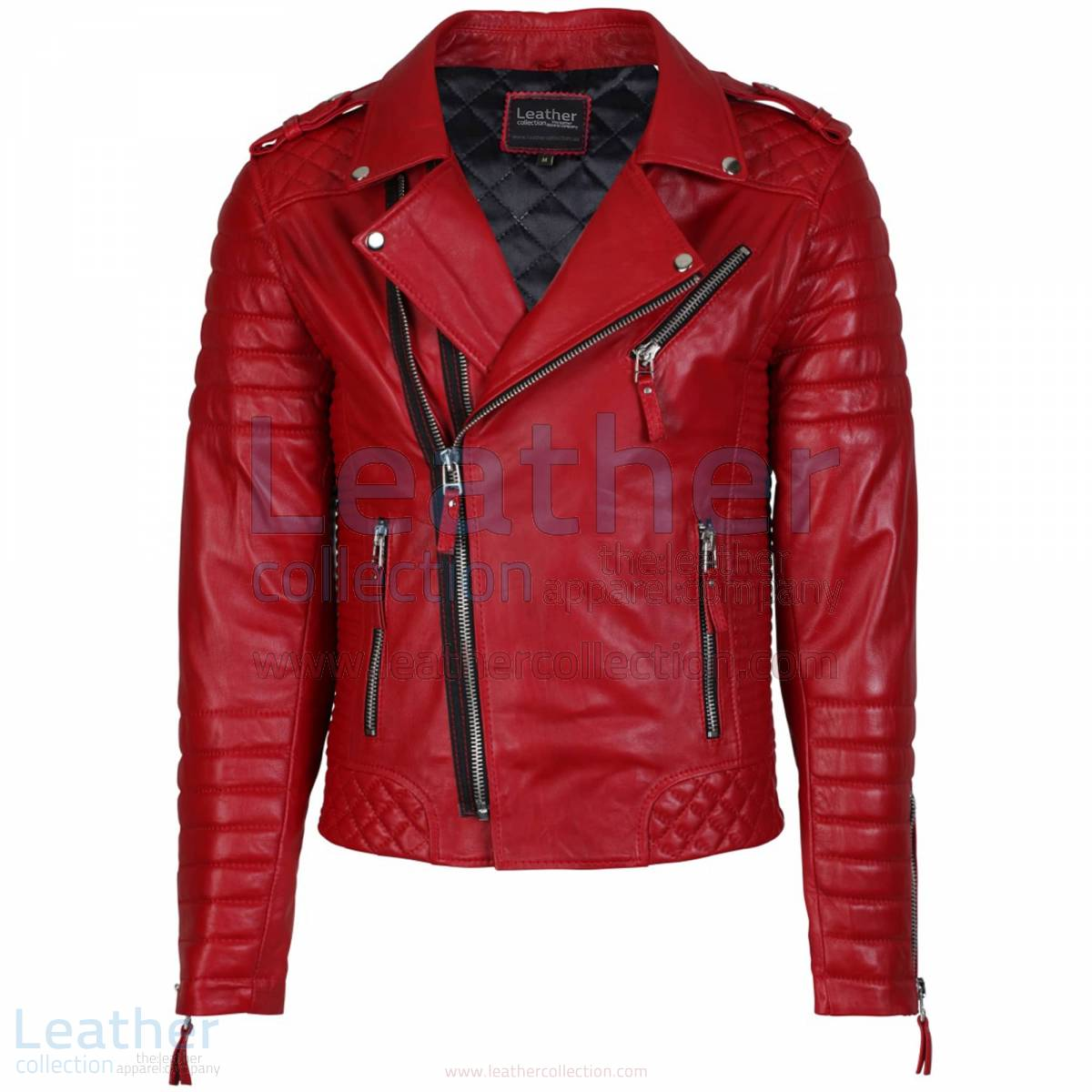 Biker Mens Quilted Leather Jacket