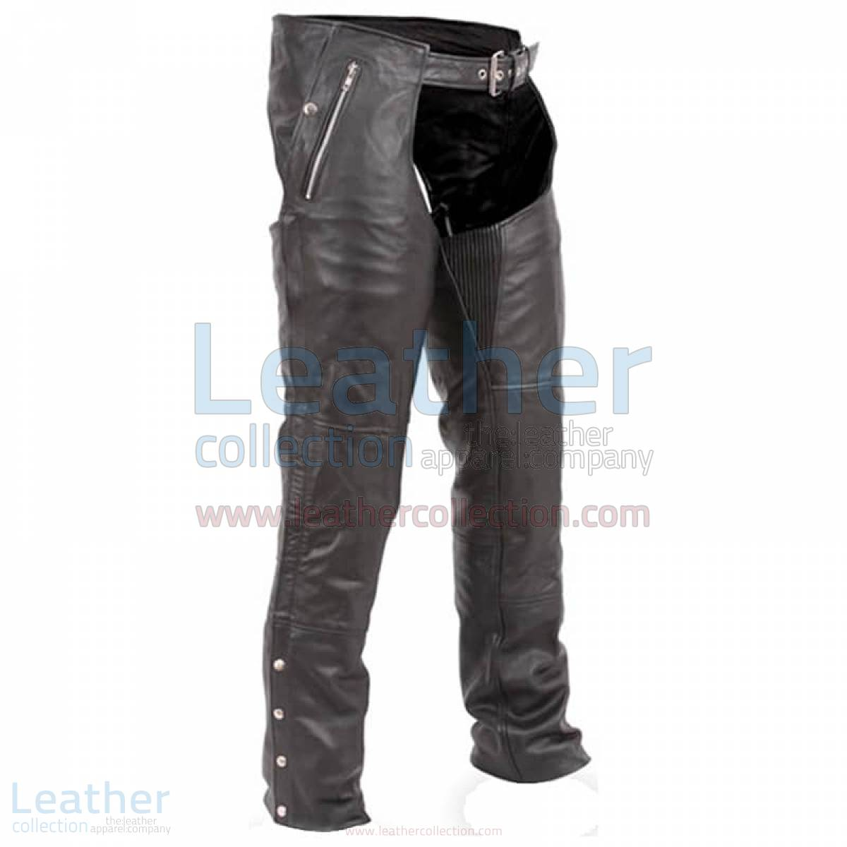 Black Premium Biker Leather Chaps