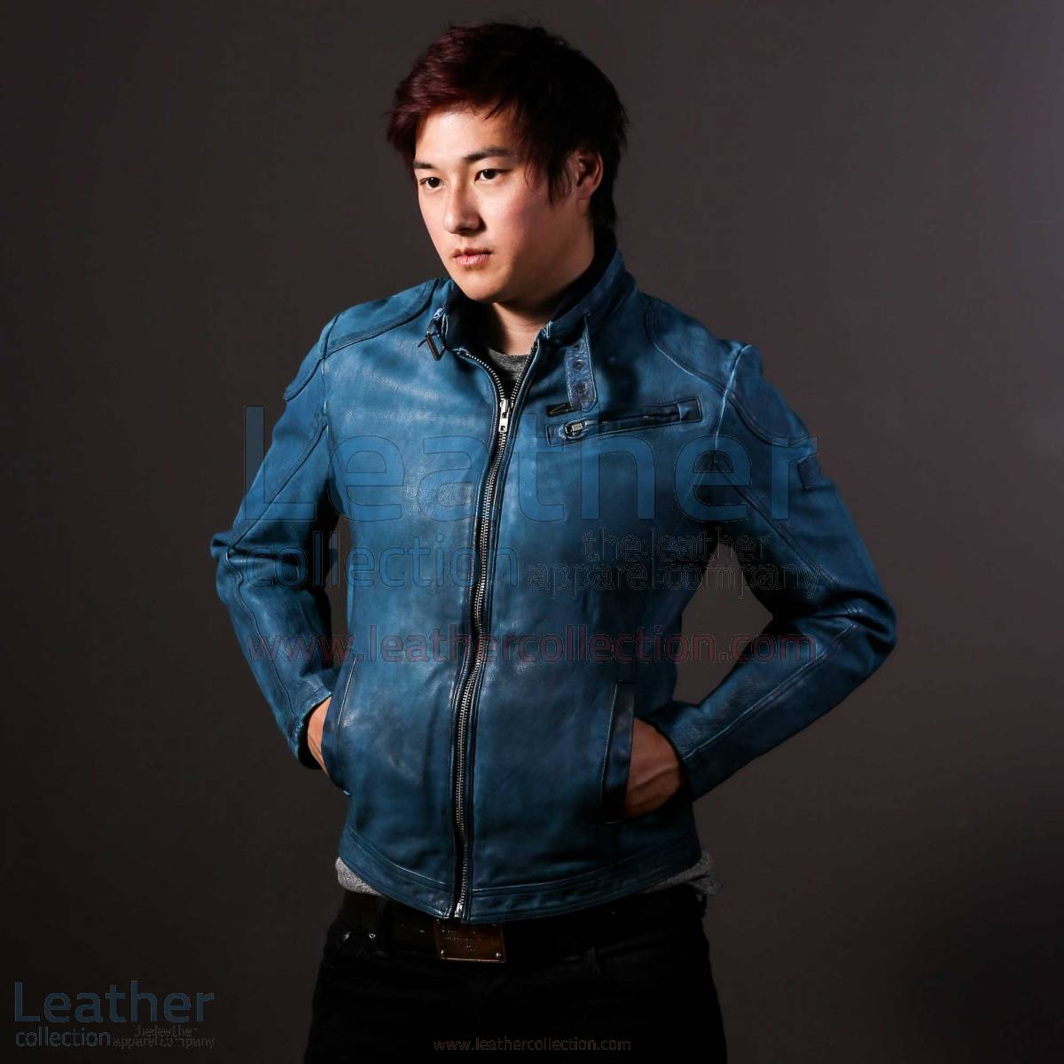 Blue Jazz Leather Jacket For Mens