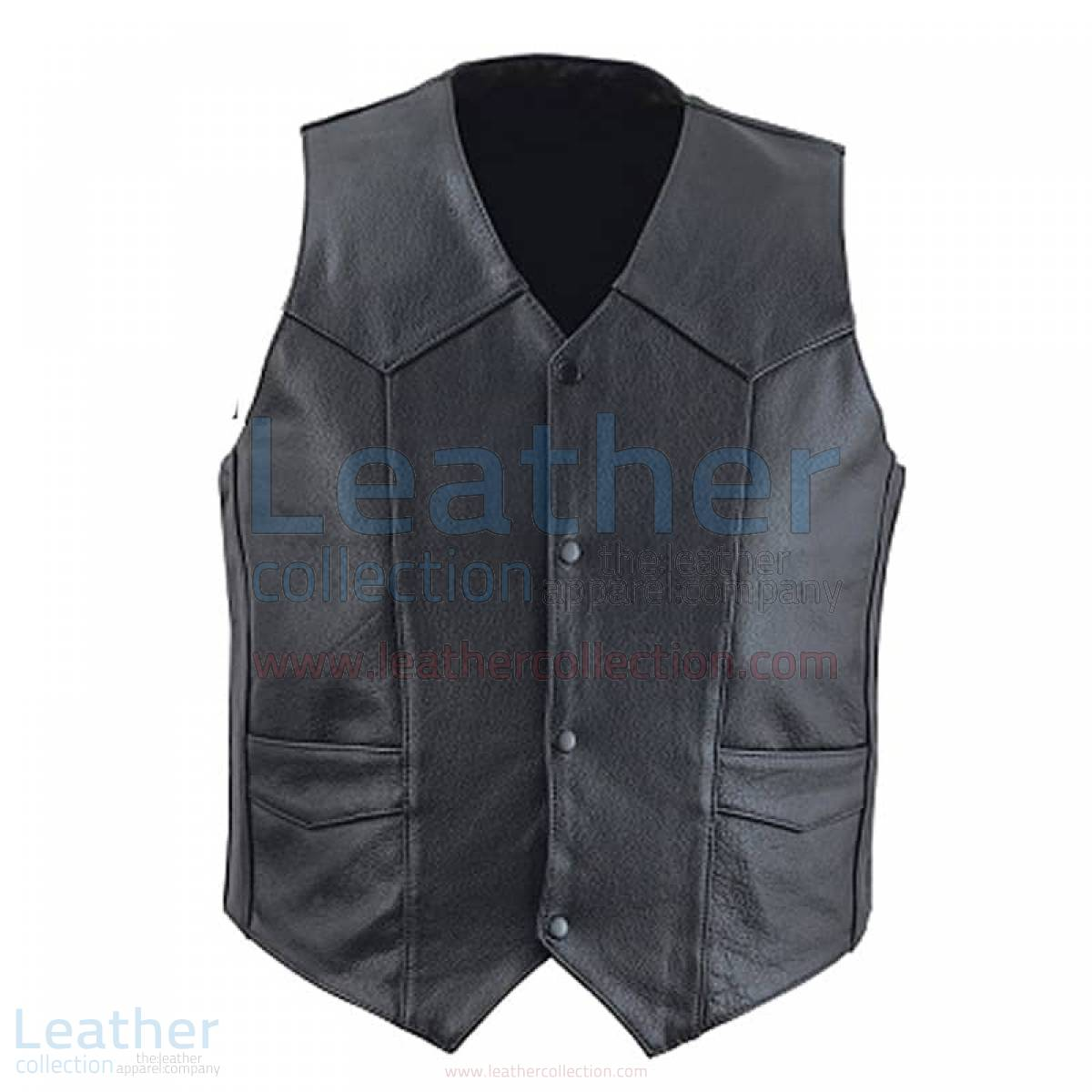 Classic Black Leather Vest Mens