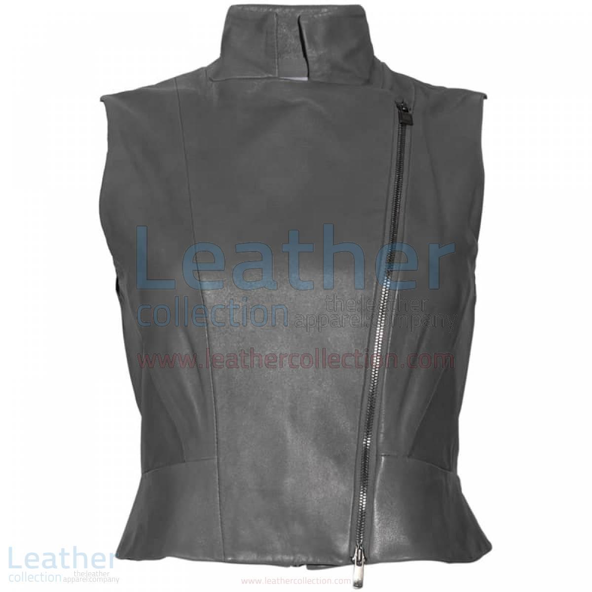 High Neck Fashion Leather Vest
