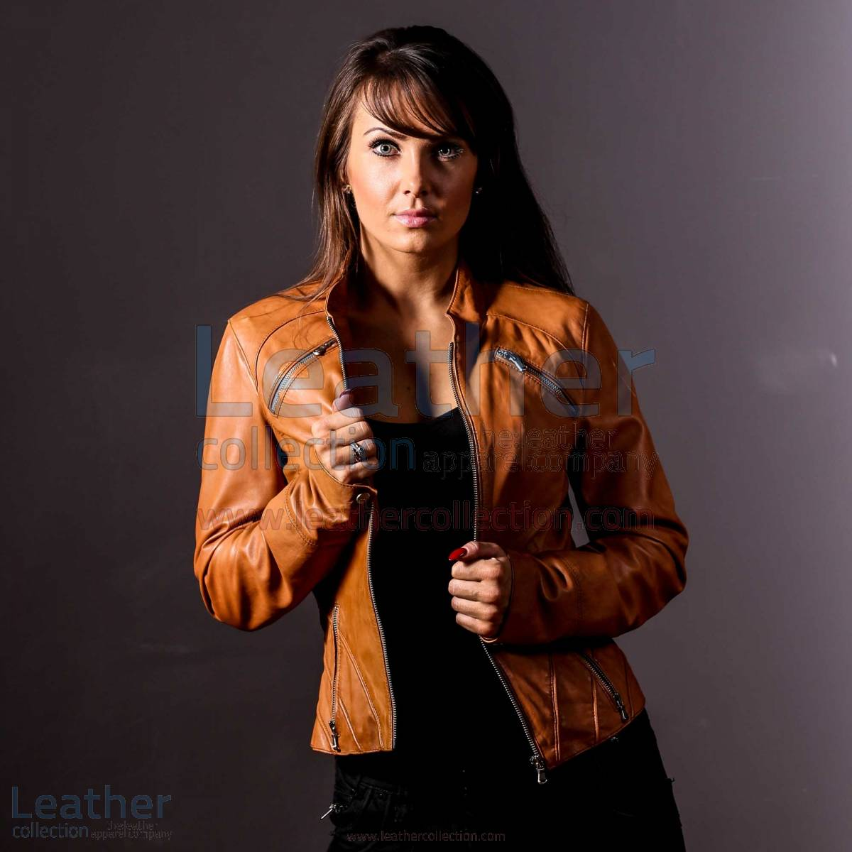 tan leather jacket for women