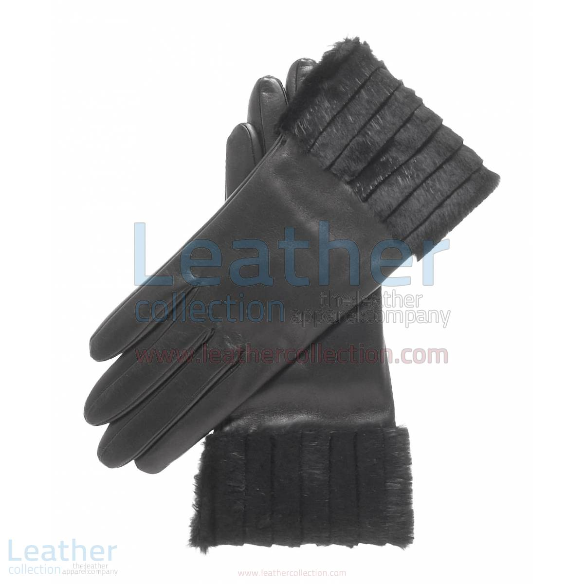 Ladies Fashion Black Fur Cuff Gloves