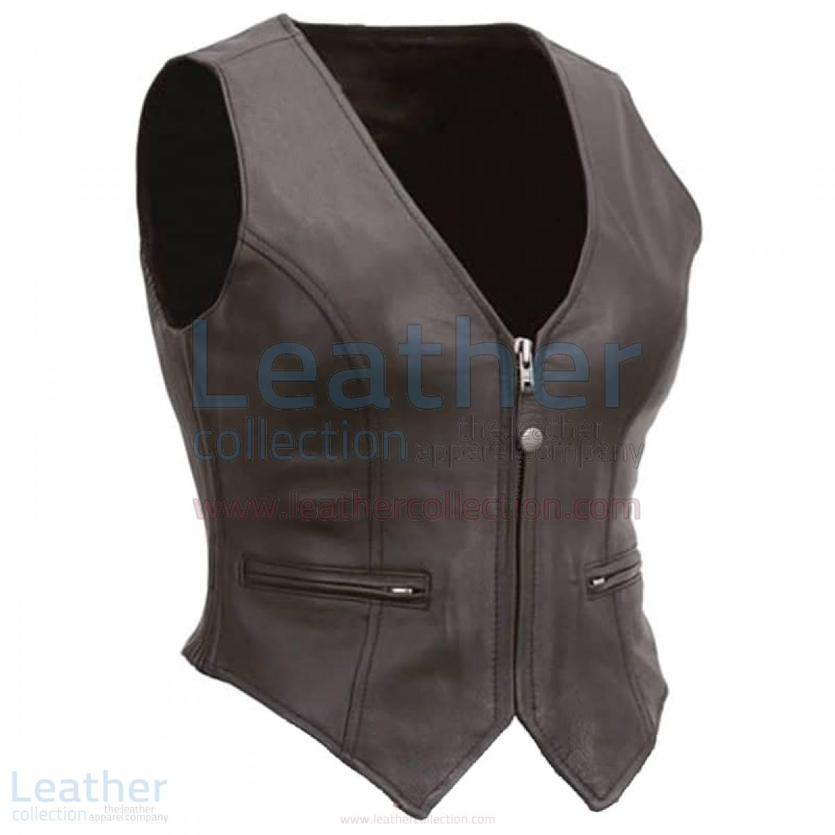 Ladies Motorcycle Leather Zipper Vest