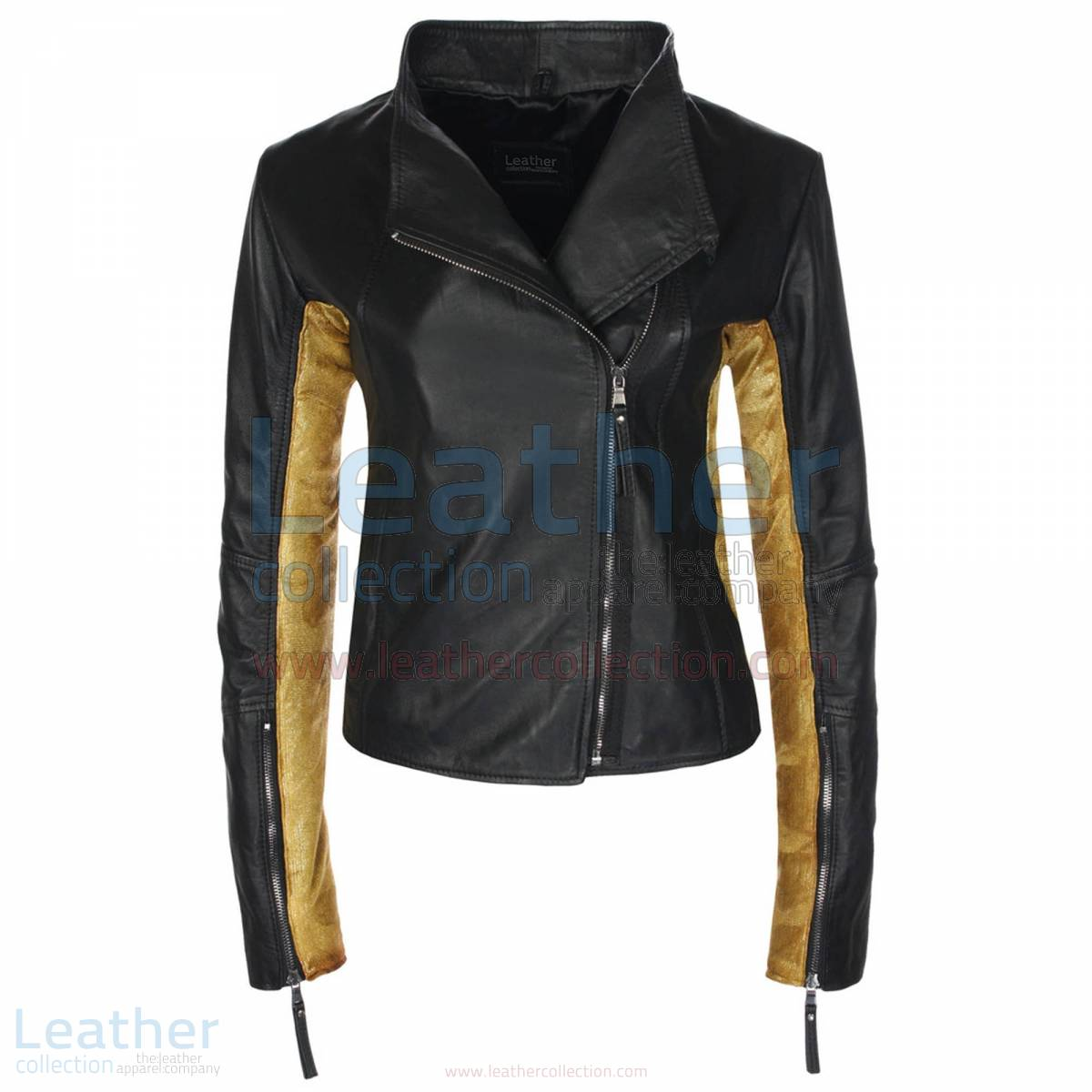 Ladies Sovereign Black & Gold Leather Jacket