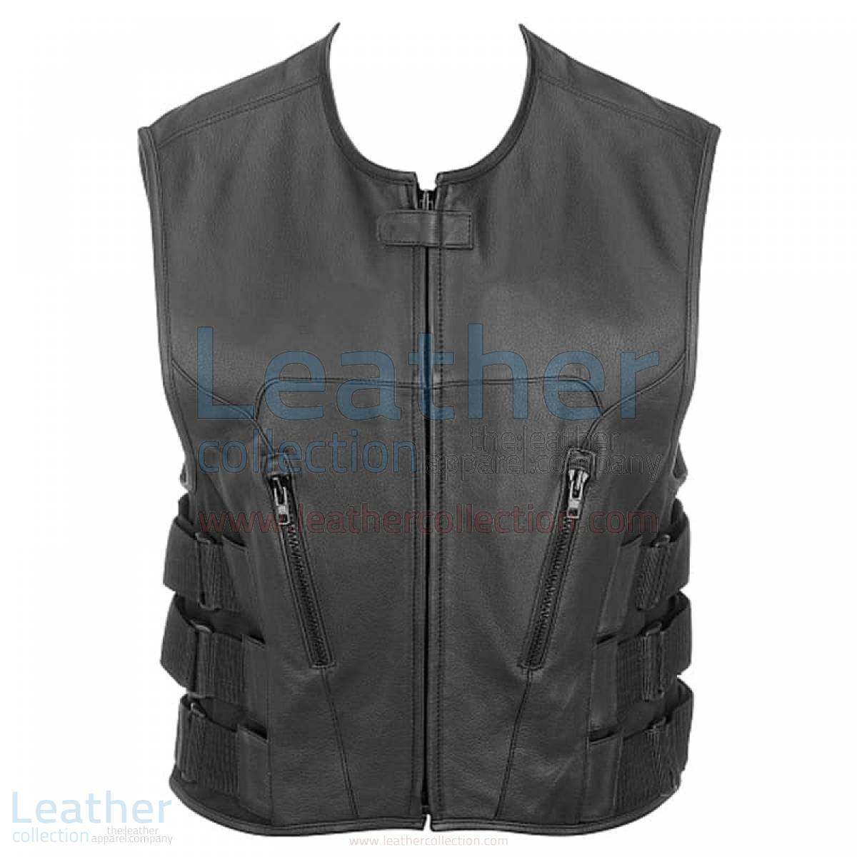 Leather Rider Vest with Velcro Side Straps