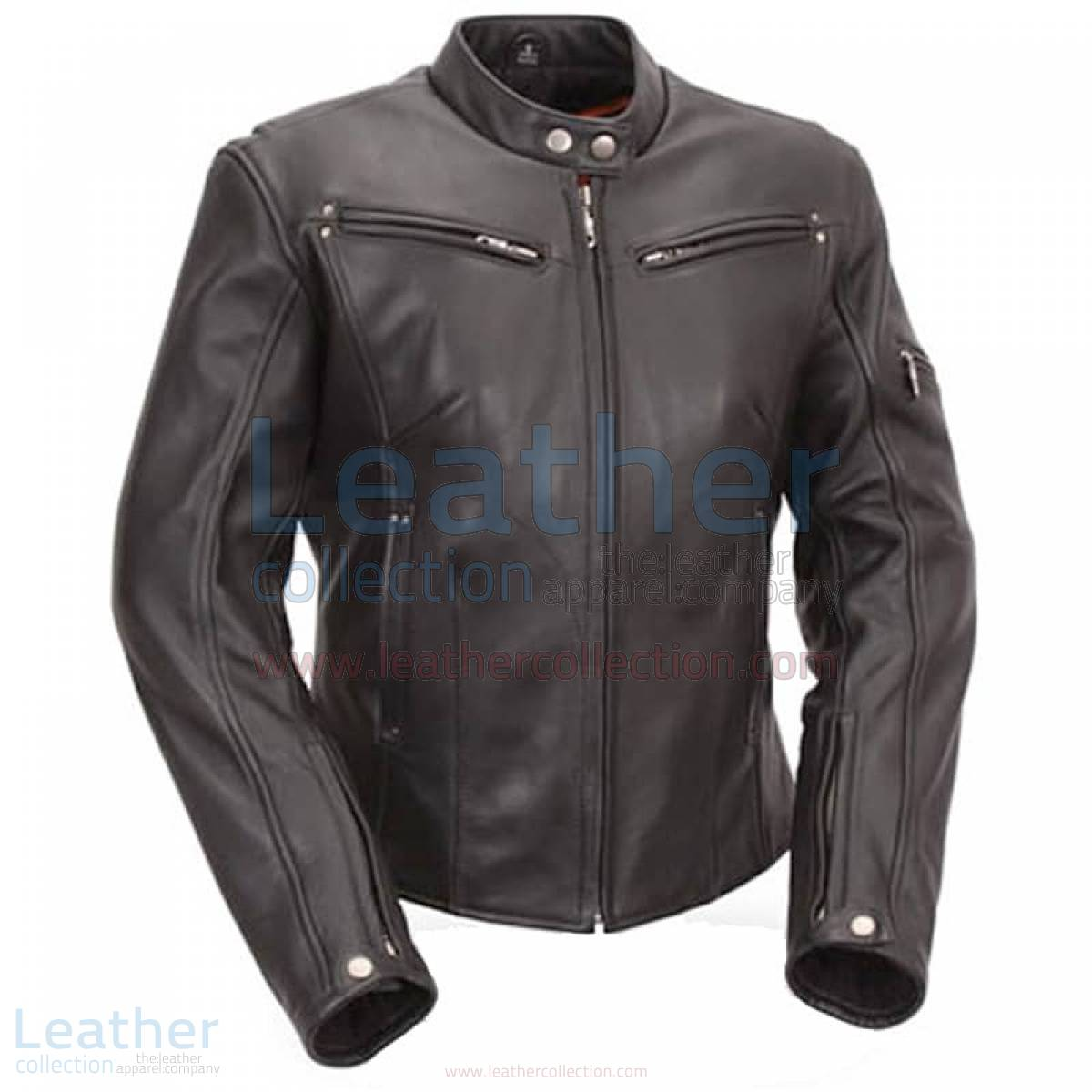 Leather Touring Jacket with Scooter Collar & Multiple Vents
