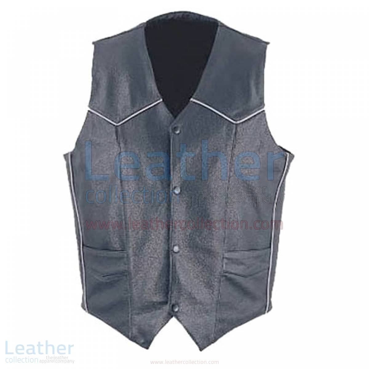 Mens Classic Leather White Piping Vest