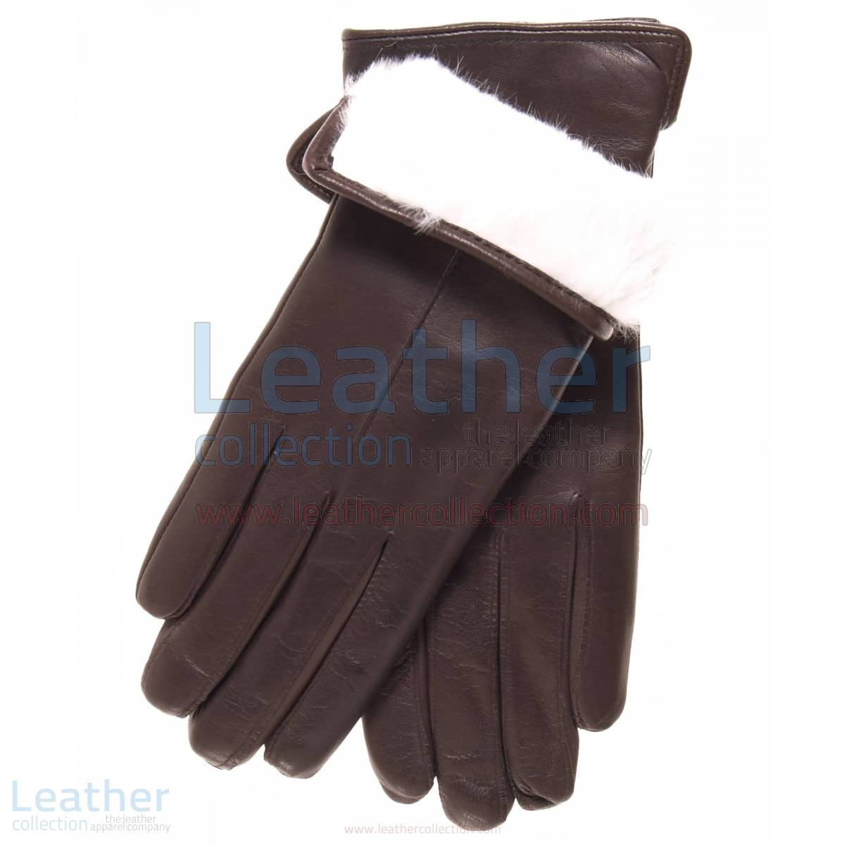 White Fur Lined Womens Leather Gloves