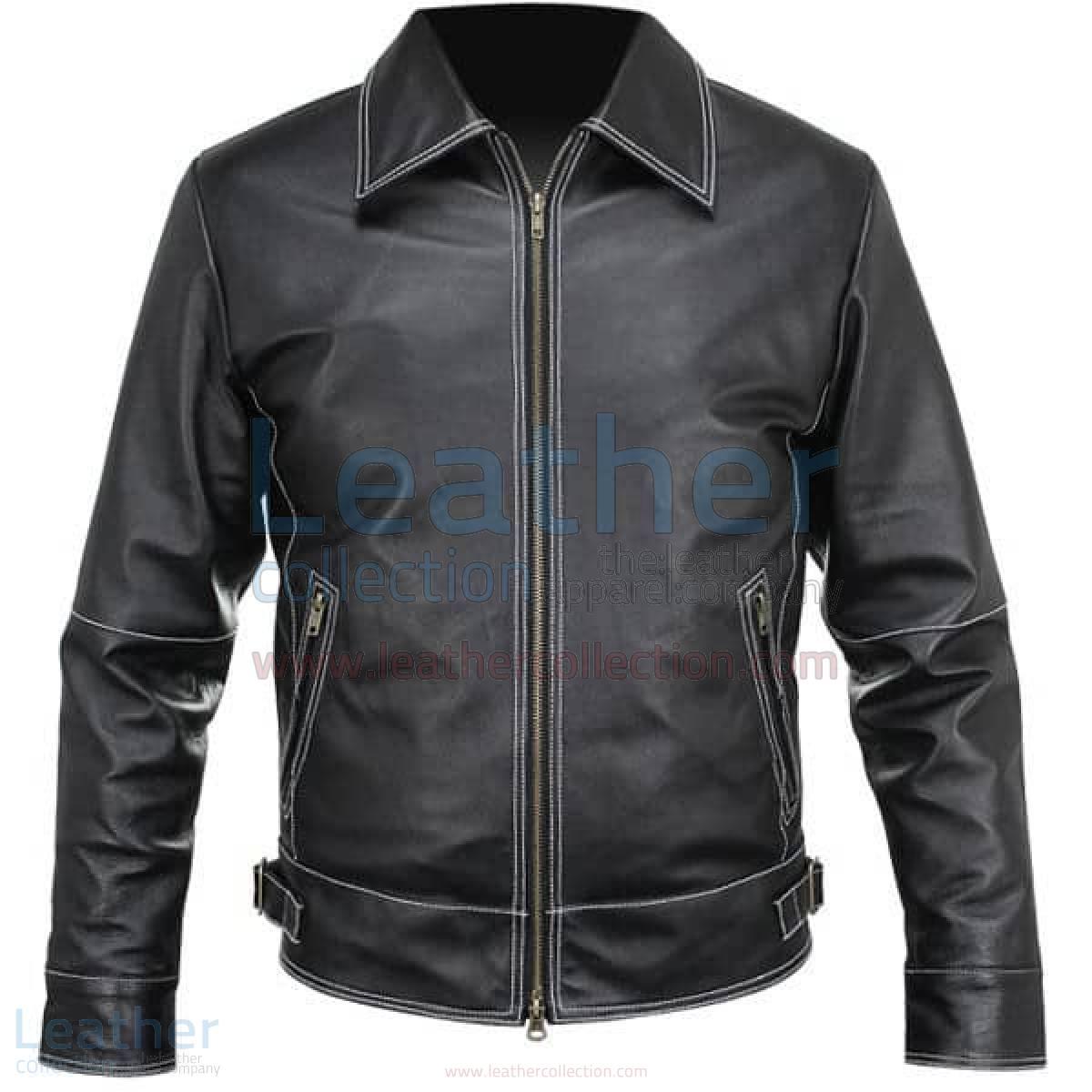 White Stitches Matte Leather Jacket For Men