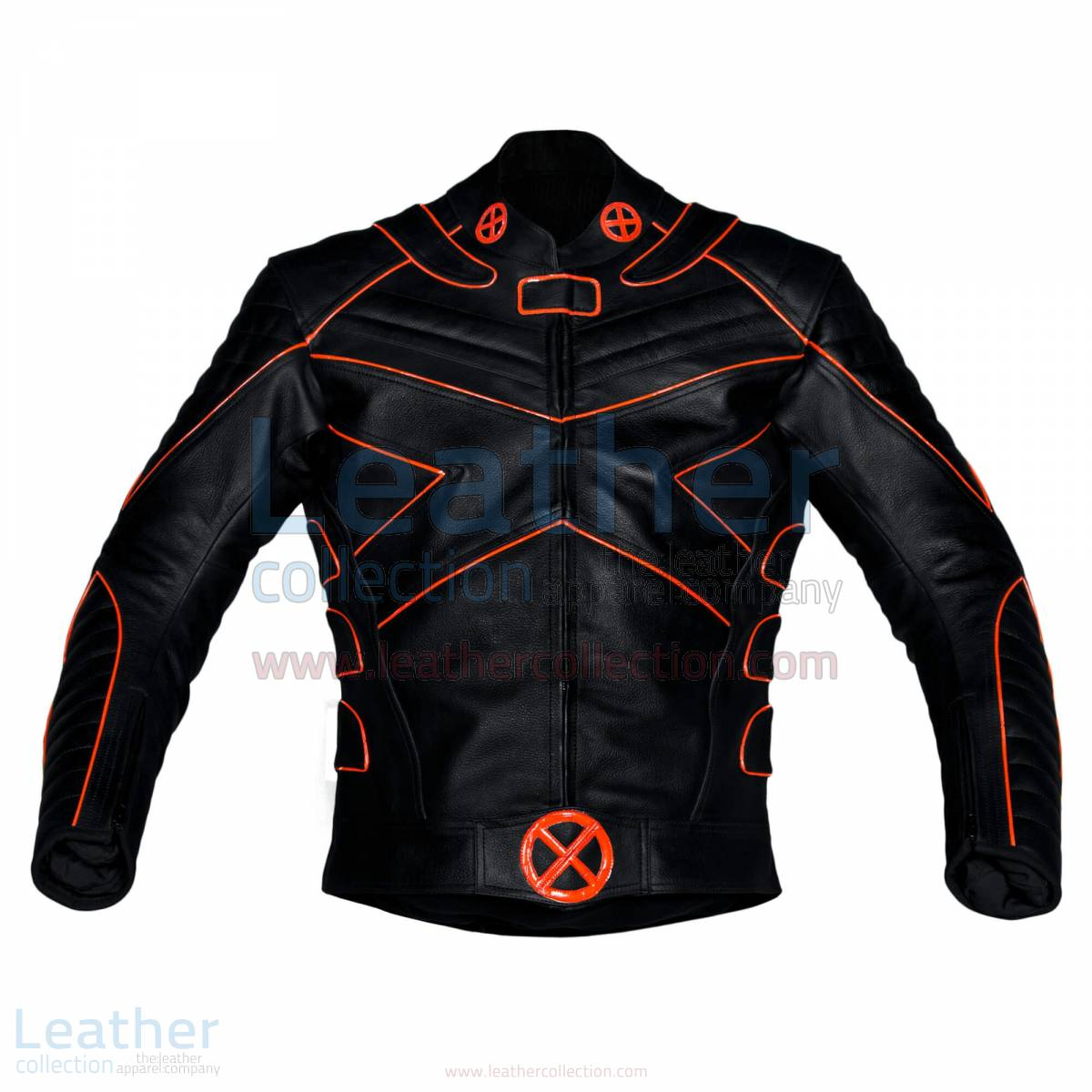 X-Men Motorbike Leather Jacket with Orange Piping